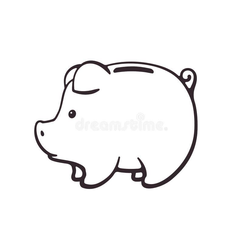 Doodle prosiątko bank dla gotówkowego pieniądze w bocznym widoku ilustracji