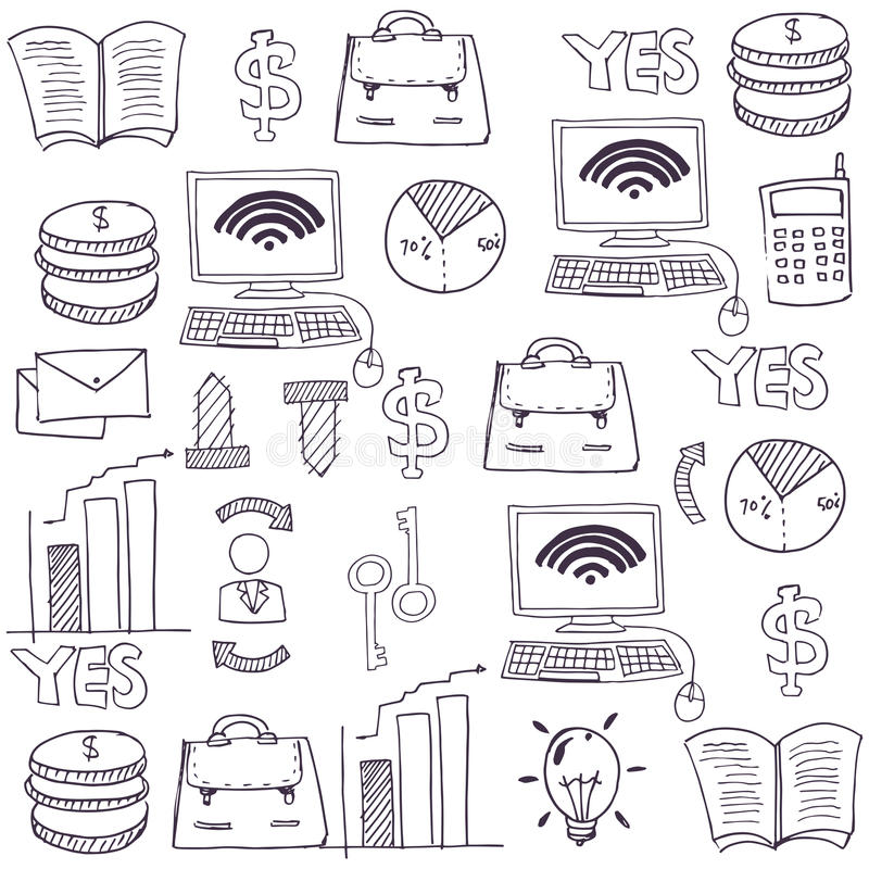 Doodle przedmiota biznesu temat royalty ilustracja