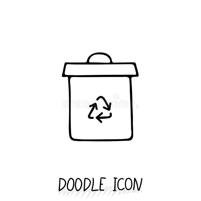 Doodle przetwarza kosz ikonę 8 mogą eps ilustracja nad grata wektoru biel ilustracji