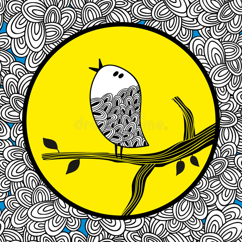 Doodle ptak i księżyc royalty ilustracja