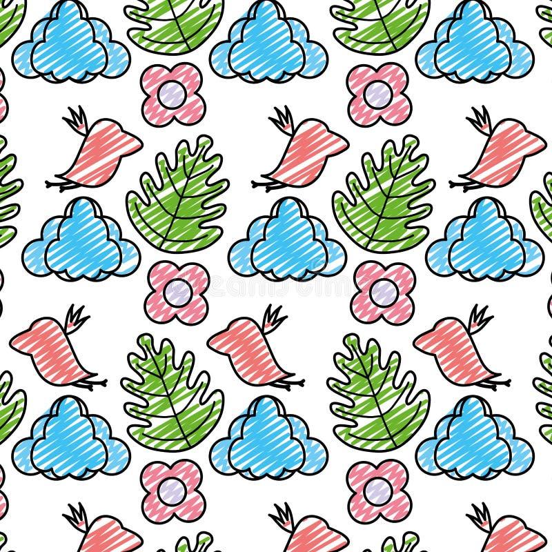 Doodle ptak z chmurą i egzotycznym rośliny tłem royalty ilustracja