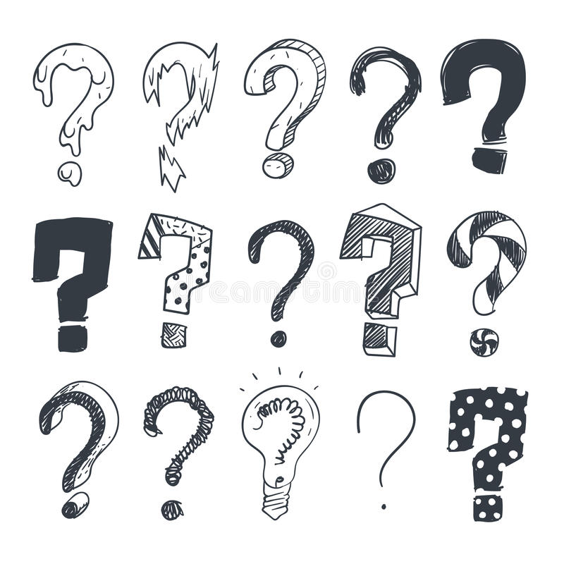 Doodle question marks. Hand drawn interrogation query symbols vector set royalty free illustration