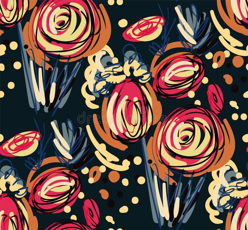 Doodle róży projekta kwiatu sztuki obrazu kolorowej wektorowej dekoracji wzoru tapetowy bezszwowy ogród royalty ilustracja