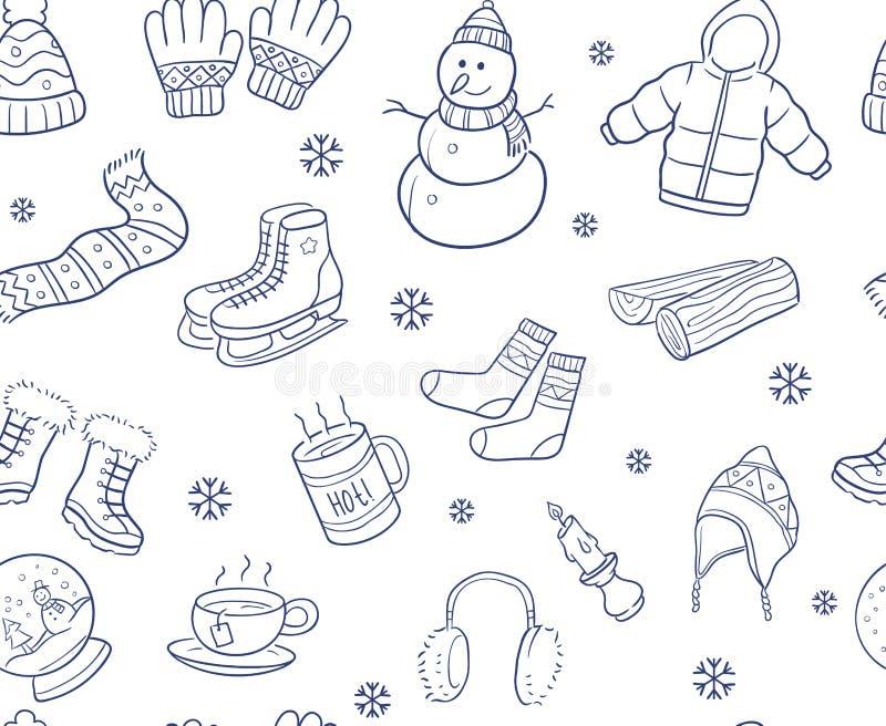Doodle rękę rysującą zima elementy i przedmiota bezszwowy wzór royalty ilustracja
