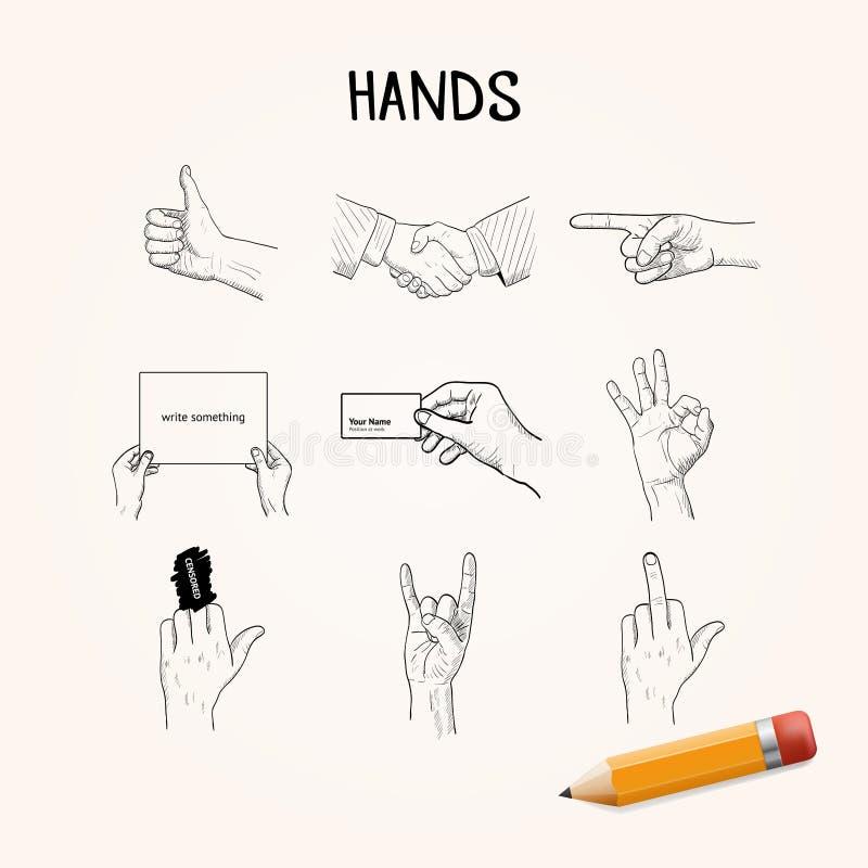 Doodle ręki ruchy Wektorowa ręka rysować ikony ilustracji
