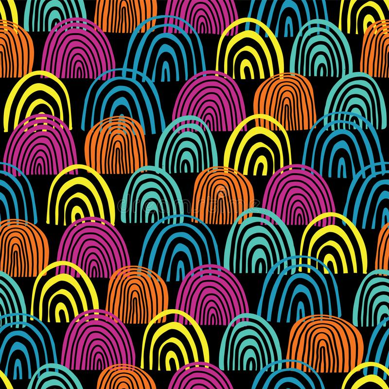 Doodle rainbow seamless vector pattern. Teal, blue, pink and orange half circles on black background. Textured backdrop. Hand royalty free illustration