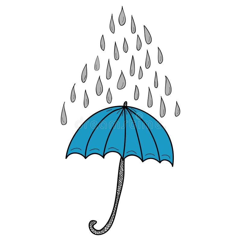 Doodle raindrops i parasol ilustracja wektor