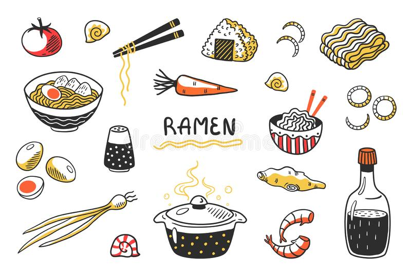 Doodle Ramen. Chinese hand drawn noodle soup with food sticks bowls and ingredients. Vector Asian food sketch set. With egg noodles and other cooking products royalty free illustration