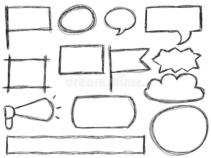 Doodle ramy i mowa bąble royalty ilustracja