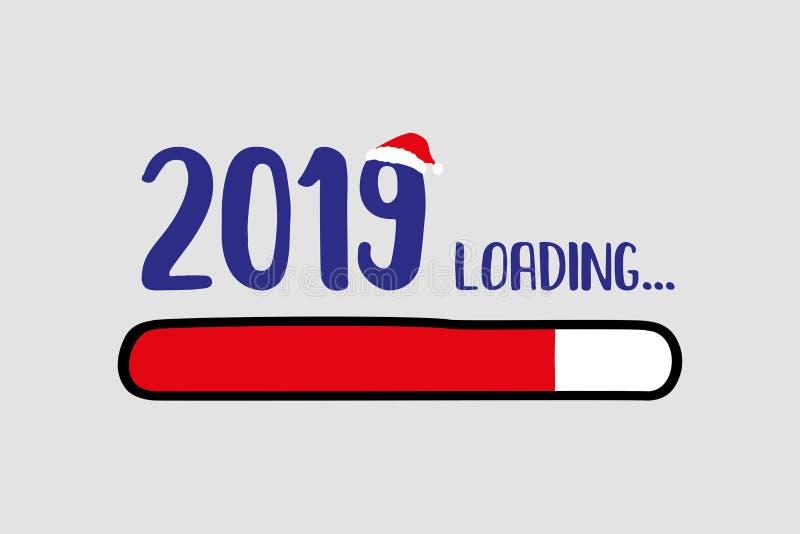 Doodle Red Download bar,2019 loading text. Vector illustration stock illustration