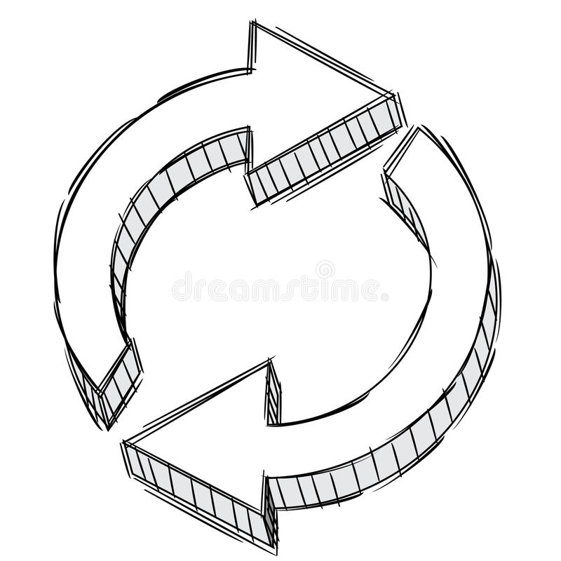 Doodle of a refresh arrow sign royalty free illustration