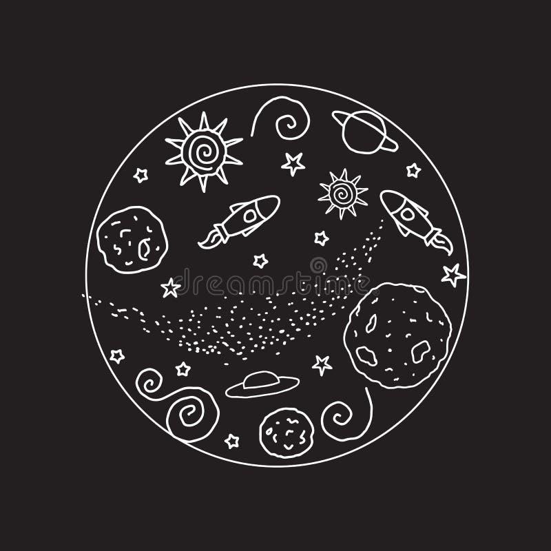 Doodle round znak Biała kolor przestrzeń również zwrócić corel ilustracji wektora Planety, UFO, rakieta, gwiazdy odizolowywać na  royalty ilustracja