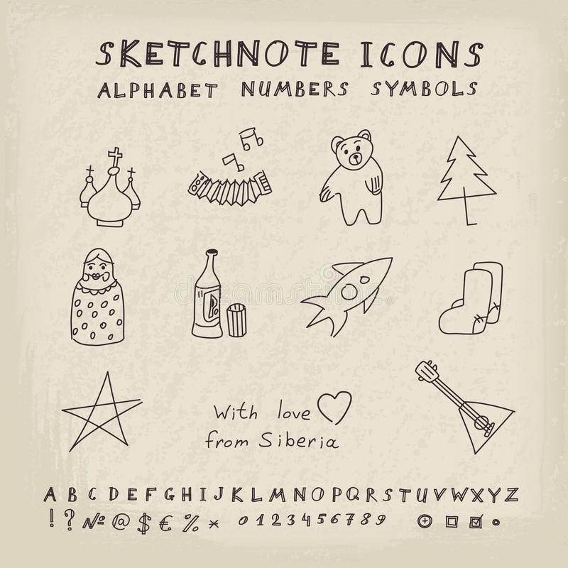 Doodle Russian Icons. Alphabet and Symbols Set. Vector skethnote collection vector illustration