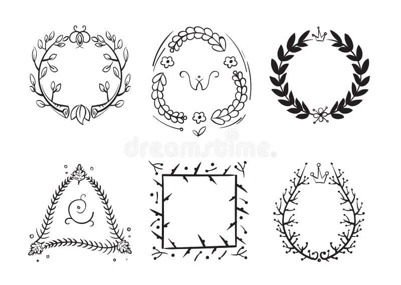 Doodle rustic branch frames, vector hand drawn nature swirl tree decorative border vector illustration