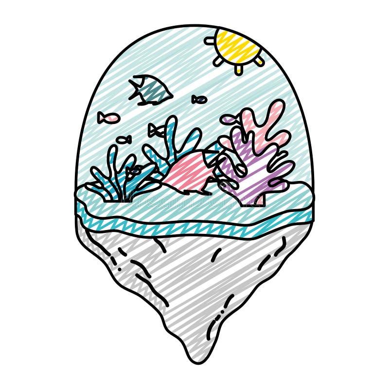 Doodle ryby i egzotyczna gałęzatka w pływakowej wyspie royalty ilustracja