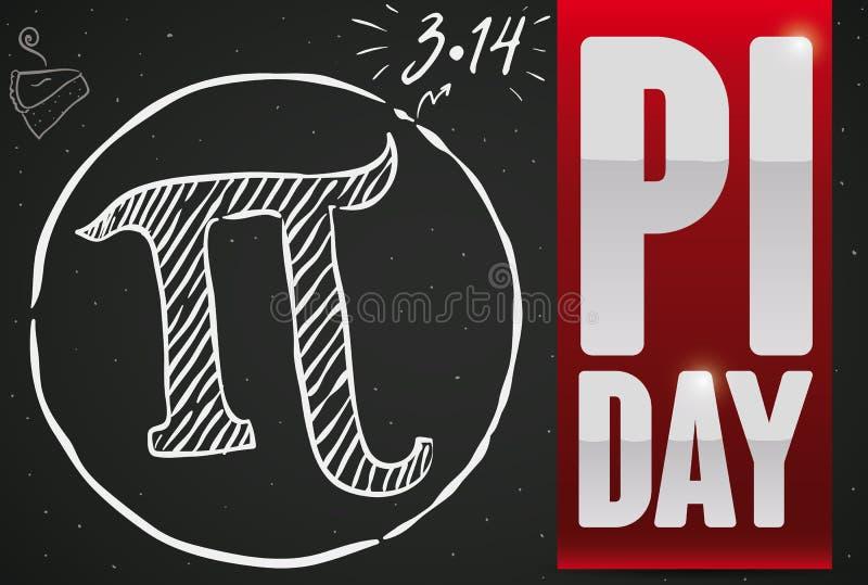 Doodle Rysuje Nad Blackboard i faborkiem dla Pi dnia świętowania, Wektorowa ilustracja ilustracja wektor