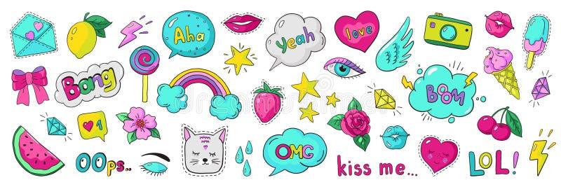 Doodle 90s stickers. Pop art fashion comic badges, trendy cartoon 80s kawaii icons. Vector lol rainbow cherry heart vector illustration