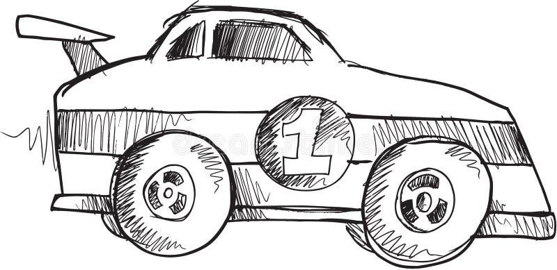 Doodle samochodu wyścigowego wektor ilustracji