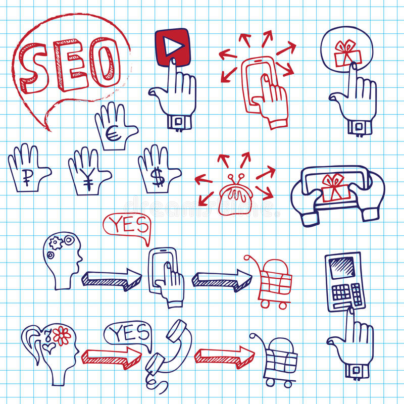 Doodle scheme main activities seo with icons. Doodle hand draw scheme main activities related to seo with sketchy icons on Notepaper.Business concept from royalty free illustration