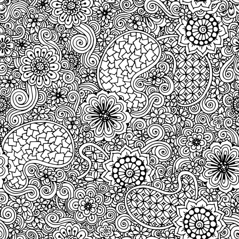 Doodle seamless background in vector with doodles, flowers and paisley. royalty free illustration