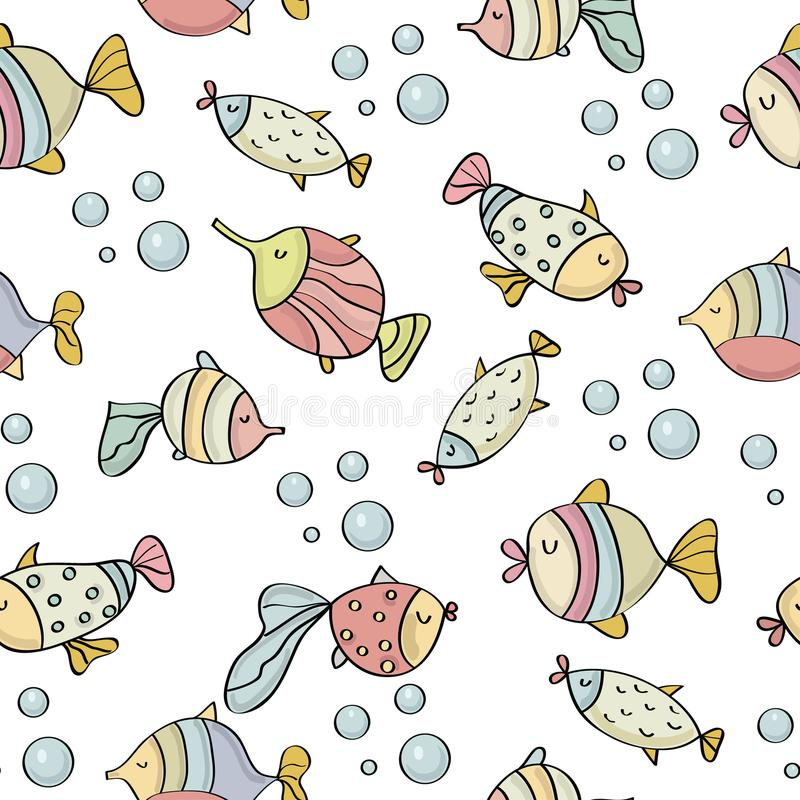 Doodle seamless pattern with fishes stock illustration
