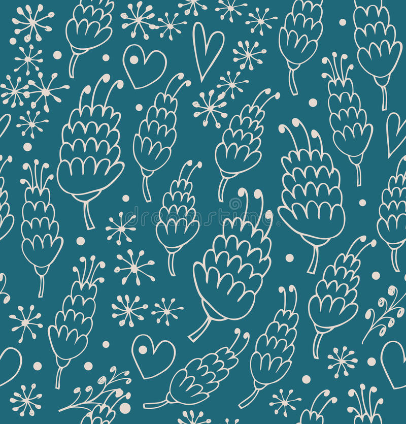 Doodle seamless pattern with flowers and hearts. Endless cute background for prints, textile, scrapbooking royalty free illustration