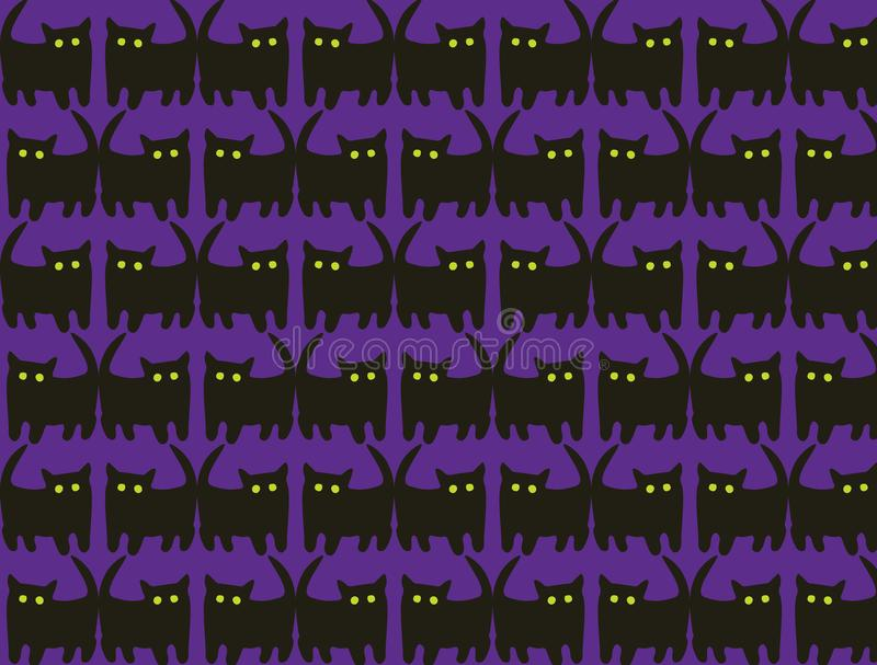 Doodle seamless pattern with hand drawn cute cat stock illustration