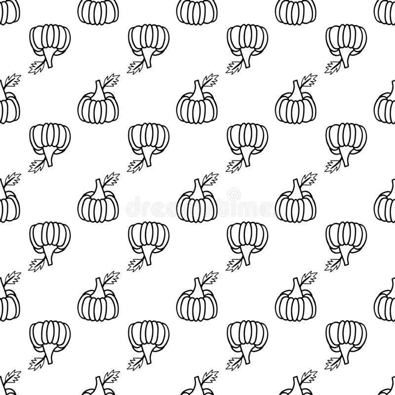 Doodle seamless pattern monochrome pumpkin for fabric design. Autumn harvest. Nature design. Seamless fabric texture. Print. Halloween background. Food vector vector illustration