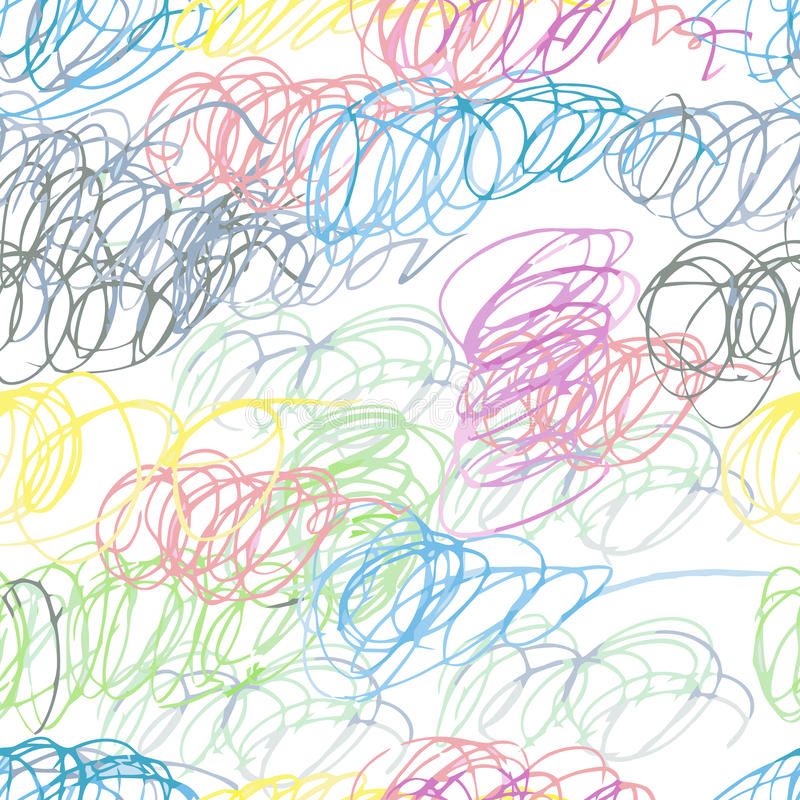 Doodle seamless pencil scribble pattern stock illustration