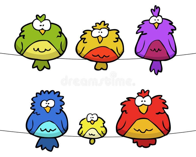 Doodle set of birds royalty free illustration