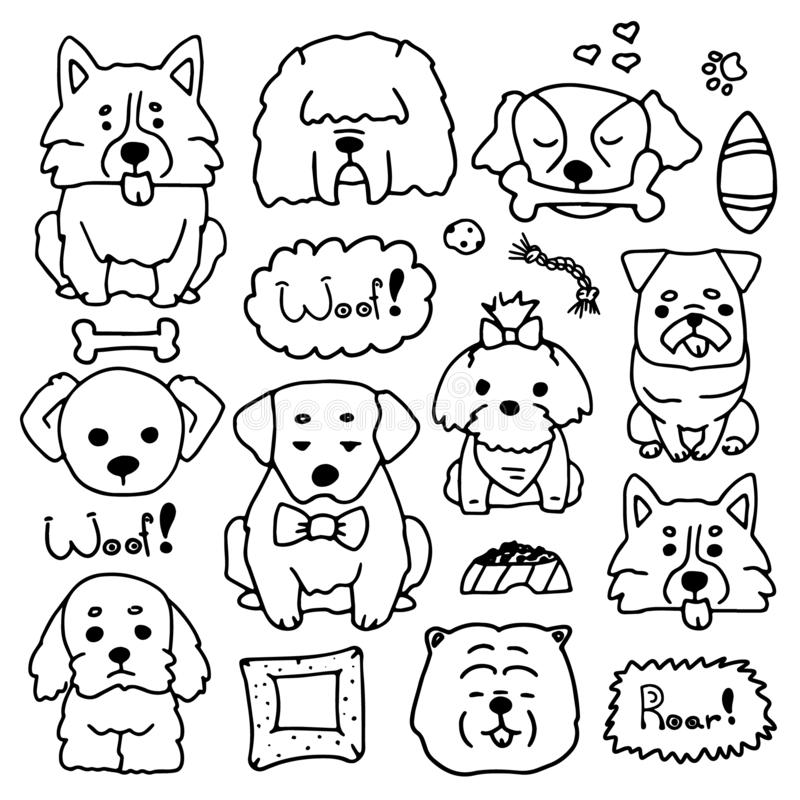 Doodle set of cute dogs different breeds. Drawn by hand illustration of doggy collection. Sketches of animals in simple stock illustration