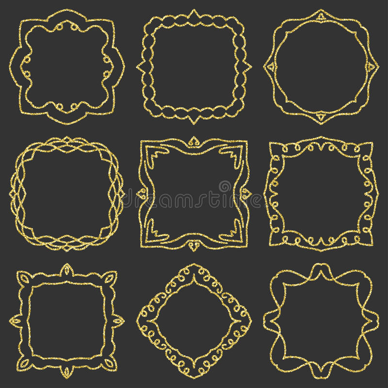 Doodle set hand drawn element for frames, logo, yoga, ethnic design. Gold, glitter, glitter. Set No. 12 of 9 items. royalty free illustration