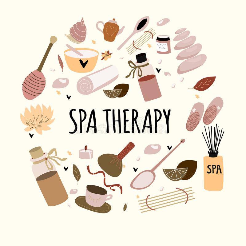 Doodle set of  hand drawn spa elements  with typography for aroma therapy , body care, beauty salon, wellness center. vector illustration