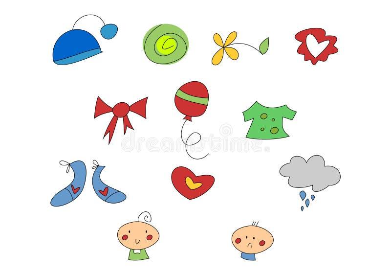 Doodle Set: Kids & Home royalty free illustration