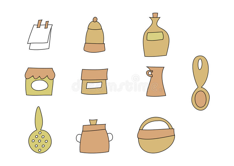 Download Doodle Set: Kitchen items stock vector. Image of cellar - 25739462