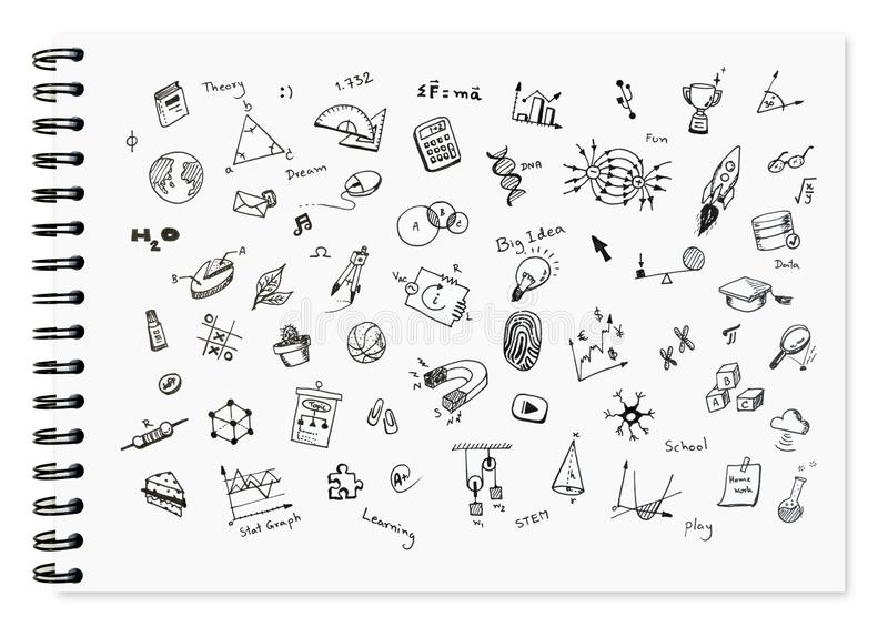 Doodle set of school related items, school equipment and learning tools on white notebook. Doodle set of school related items, school equipment and learning royalty free stock photography