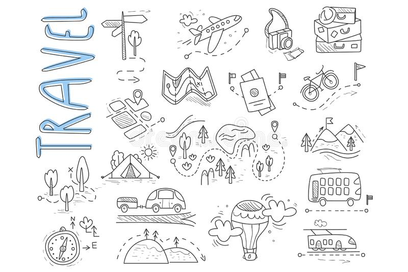 Doodle set of travel and camping icons. Signpost, air balloon, bike, forest, road, camera, car, map, baggage, camping. Hills tent trolleybus train Vector royalty free illustration