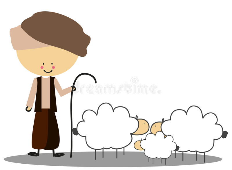 Doodle shepherd with his sheep - full color. Doodle shepherd with his sheep in colourfull stock illustration