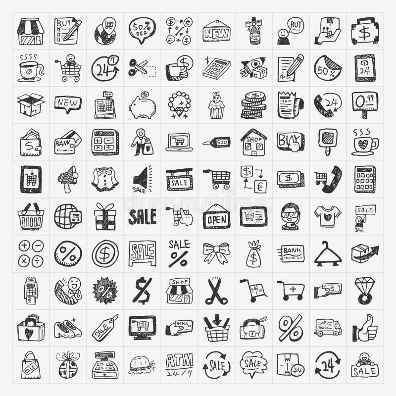 Doodle Shopping Icons Set Stock Image