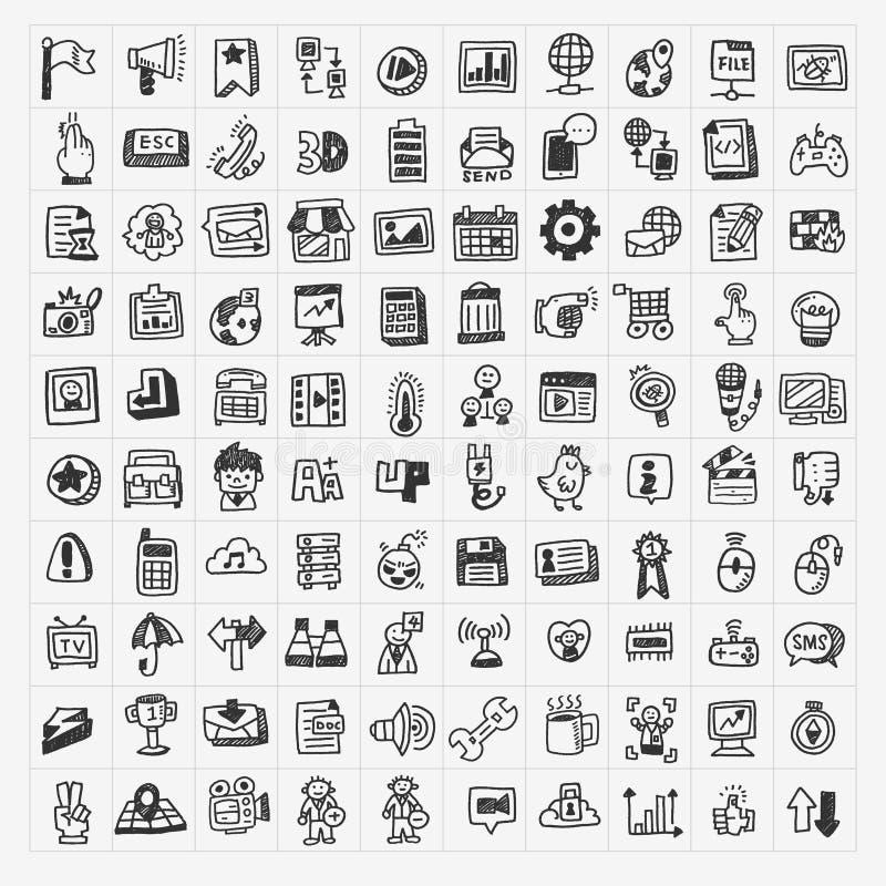 100 doodle sieci ikon ustawiających ilustracja wektor
