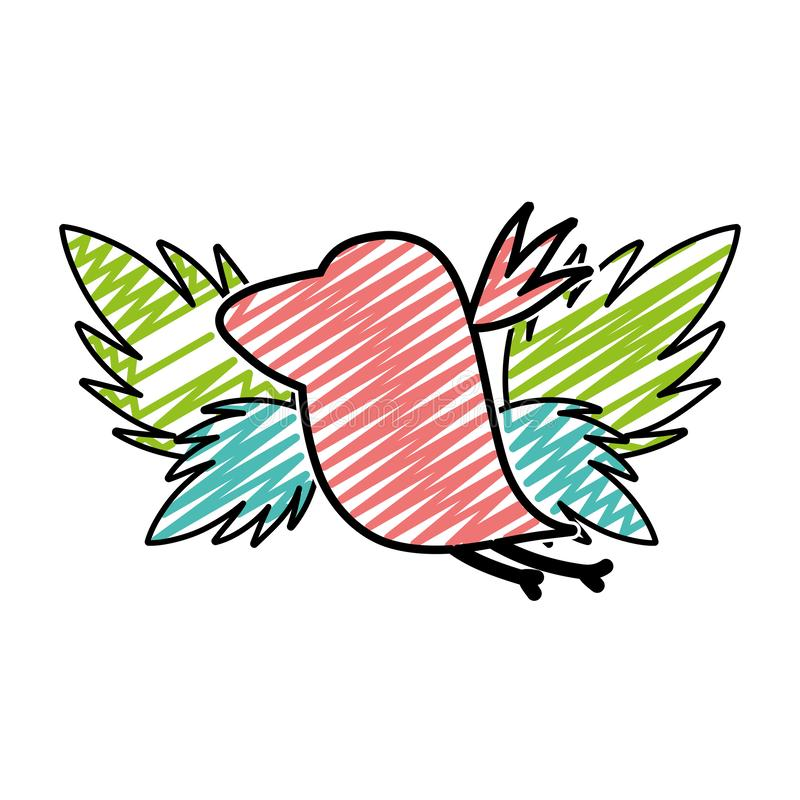 Doodle silhouette bird with exotic leaves reserve royalty free illustration
