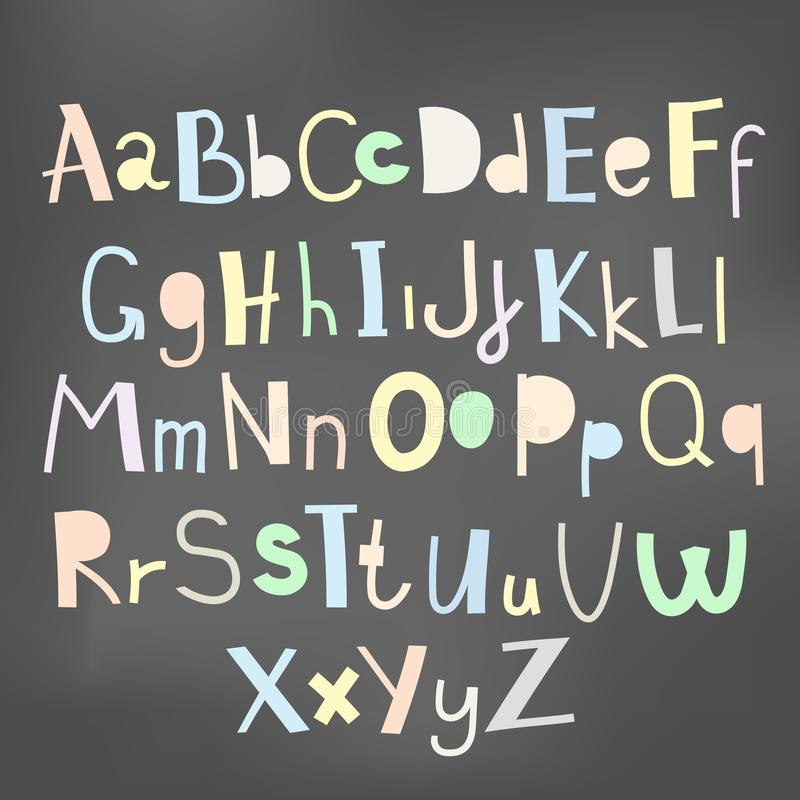 Doodle simple primitive kids alphabet, vector hand drawn letters elements stock illustration