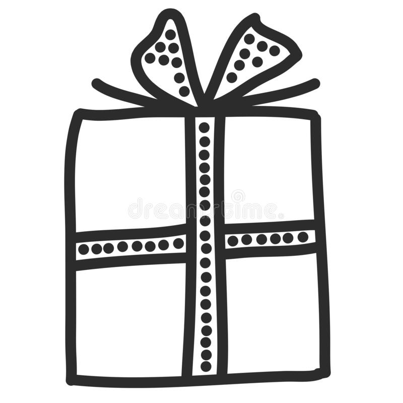 Free Doodle Single Hand Drawn Gift, Present, New Year And Xmas Box. Illustration For Greeting Card, Posters, Stickers, Seasonal Design Stock Image - 173377401