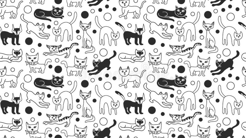 Doodle sketch cats cute seamless pattern black and white isolated. Kitten poster, banner background template. Cats can used as royalty free illustration