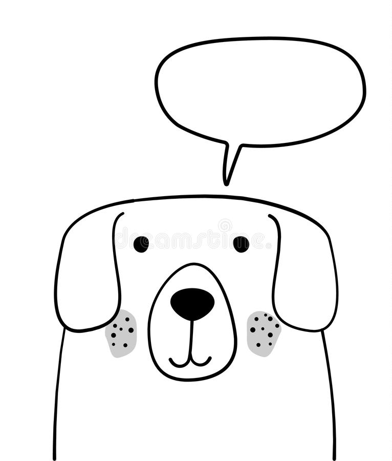 Doodle sketch Dog with chat cloud illustration. Cartoon vector dog with talking bubble. Pet. Domestic animal. Postcard, poster stock photo