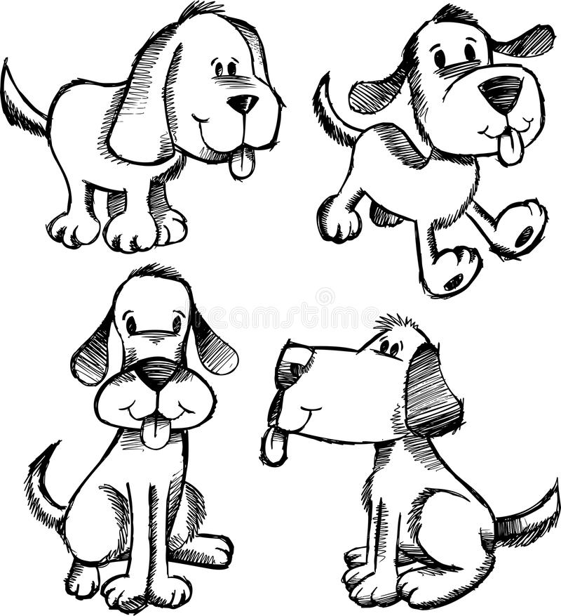 Doodle Sketch Dog Set vector illustration