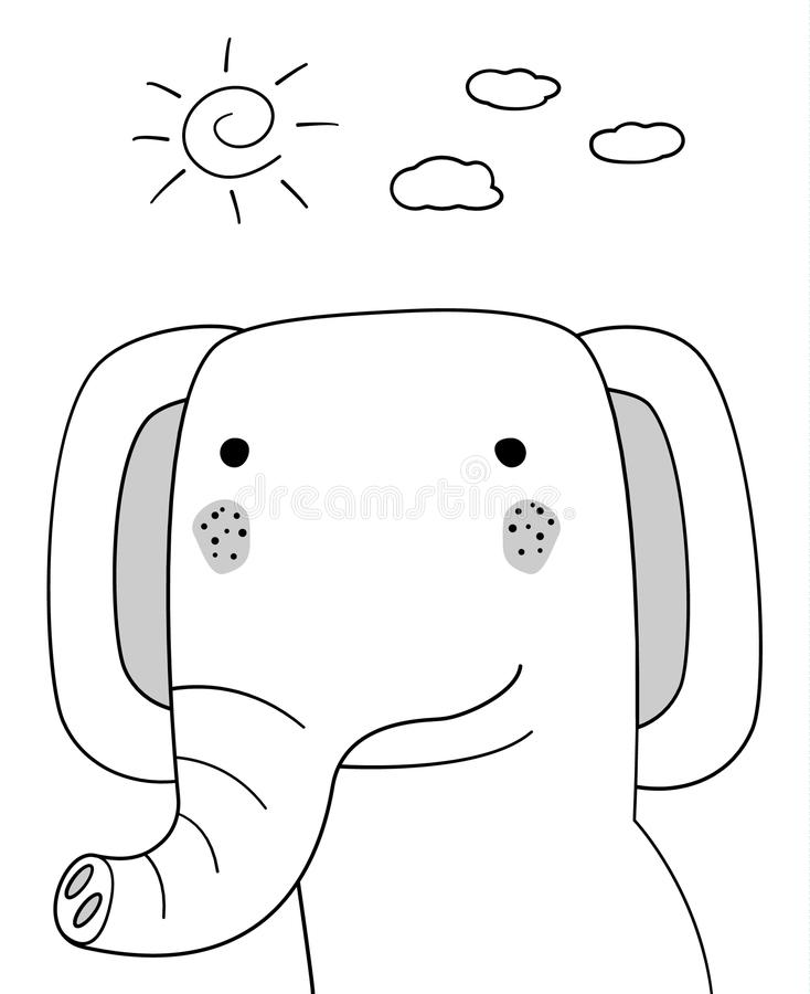 Doodle sketch Elephant with sun and clouds illustration.Cartoon vector. Doodle style. Wild mammal animal.White background.Postcard vector illustration
