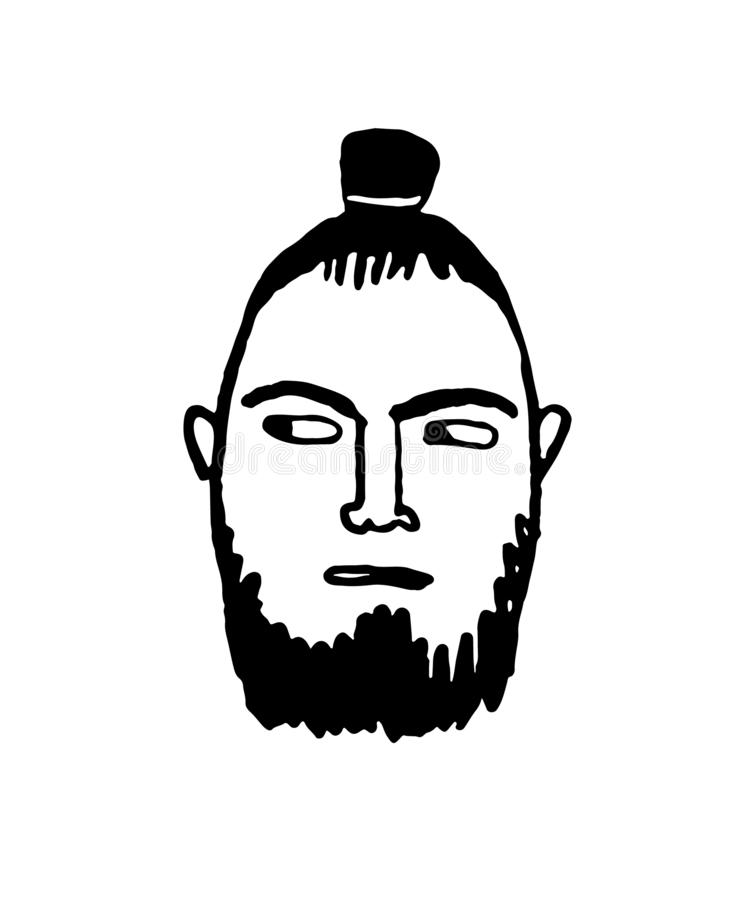 Doodle sketch of man with samurai hairstyle. royalty free illustration