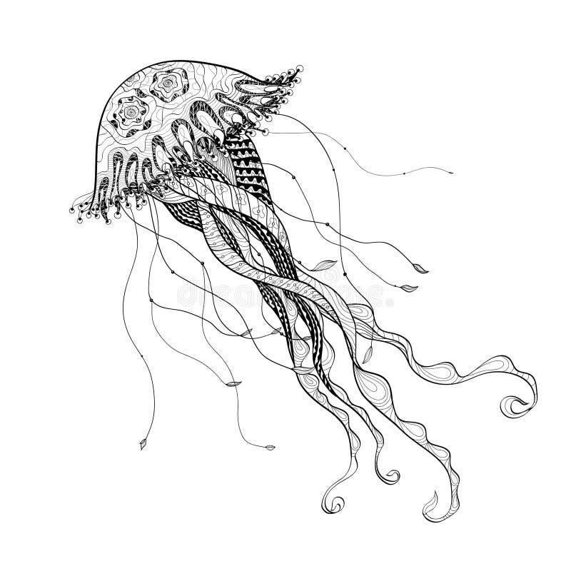 Line Art Jellyfish : Doodle sketch medusa jellyfish black line stock vector