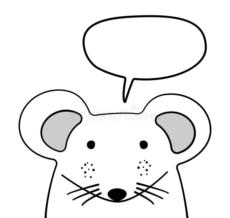 Doodle sketch Mouse with chat cloud vector illustration. Cartoon. Mouse and speech bubble. White. Wild mammal animal. Postcard. Poster, card design. Hand vector illustration